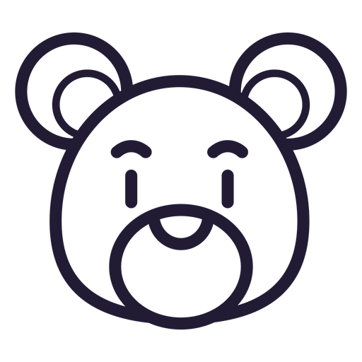 Icono de trazo de cabeza de oso de peluche Transparent PNG