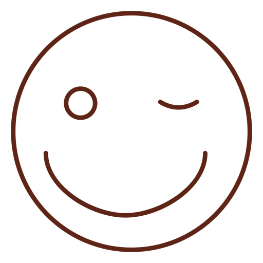 Wink emoticon stroke element Transparent PNG