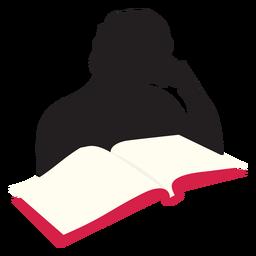 Mulher, leitura, em, tabela, silueta