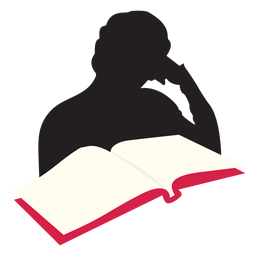Woman reading at table silhouette
