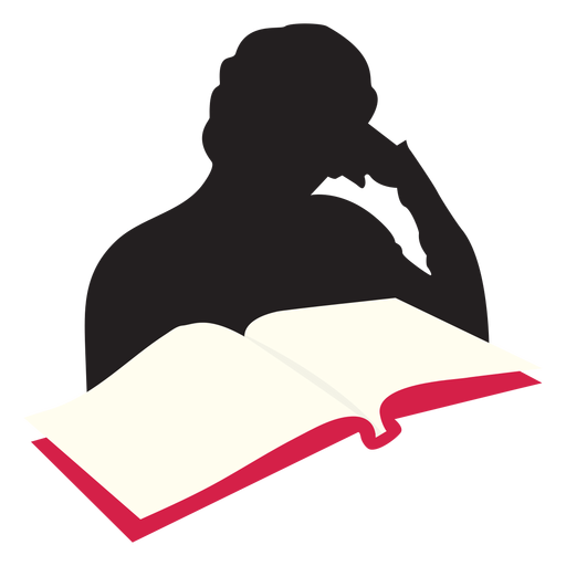 Woman reading at table silhouette Transparent PNG