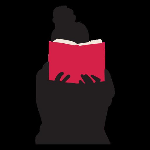 Mujer leyendo libro silueta gente leyendo