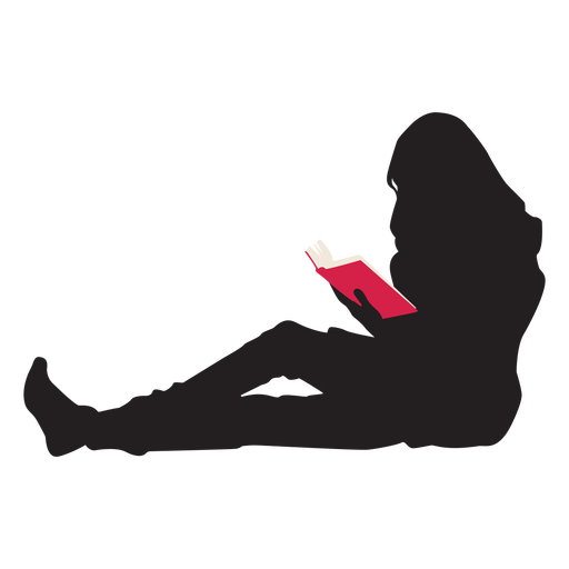 Mujer leyendo silueta