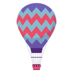 Balão de ar quente em zigue-zague