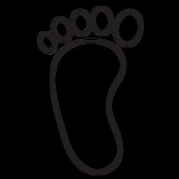 Contorno da pegada do pé esquerdo