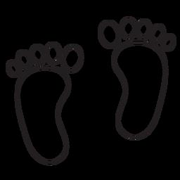 Contorno de pegada de dois pés
