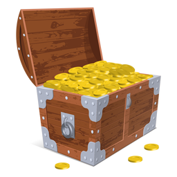 Open treasure chest illustration