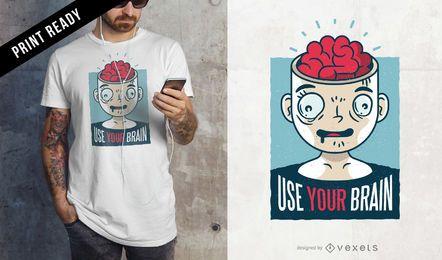 Usa el diseño de tu camiseta de cerebro