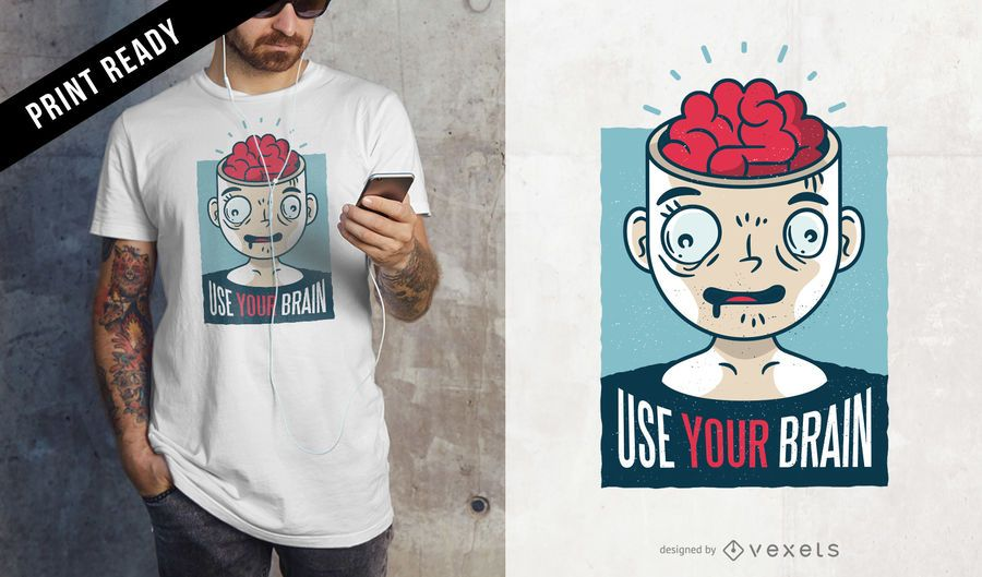 Usa tu diseño de camiseta de cerebro