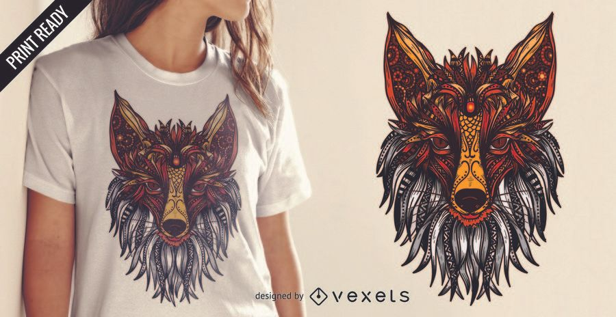 Diseño de camiseta mandala fox