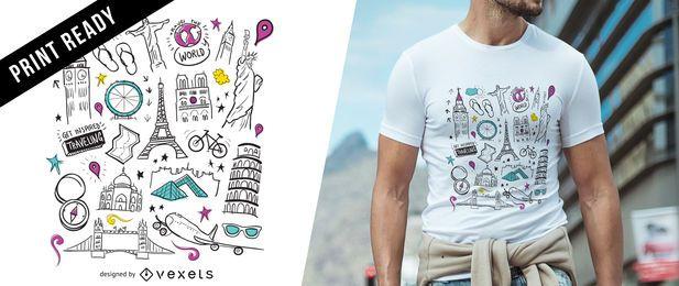 Diseño de camiseta de viaje