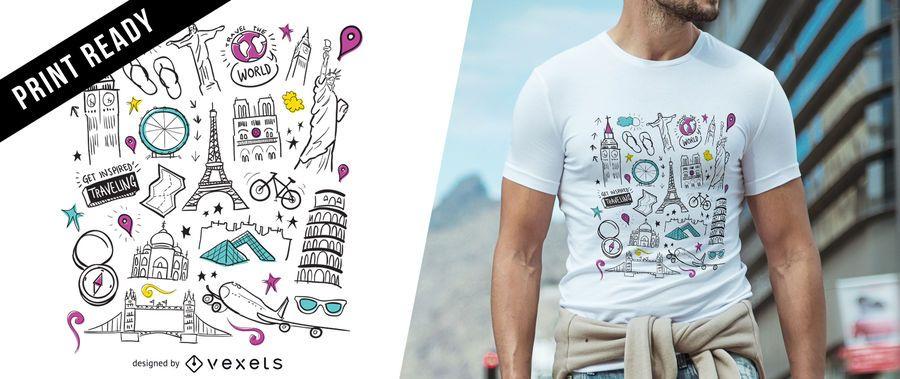 Diseño de camiseta de viaje.