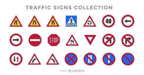 Conjunto de sinais de trânsito