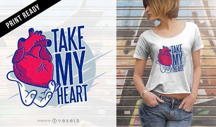 Tome meu design do t-shirt do coração
