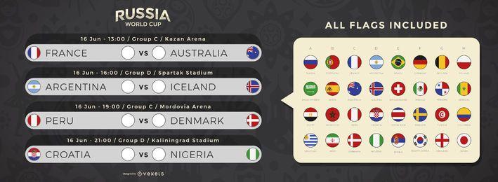 Calendario de partidos de la copa mundial