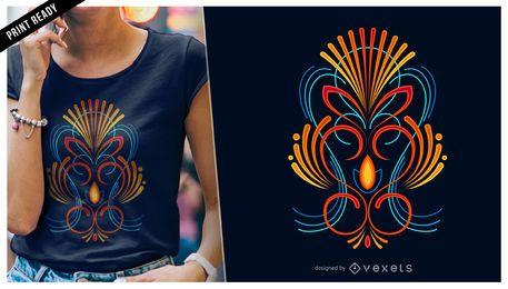 Diseño colorido de la camiseta de las telas a rayas
