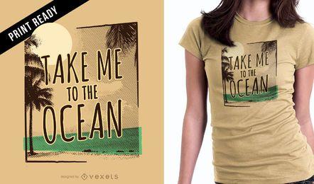 Diseño de camiseta de océano