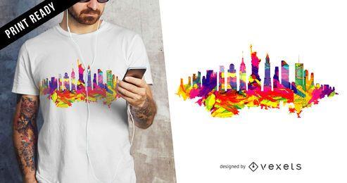Diseño de camiseta del horizonte de Nueva York