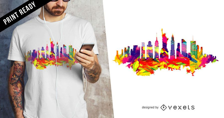 New York skyline t-shirt design