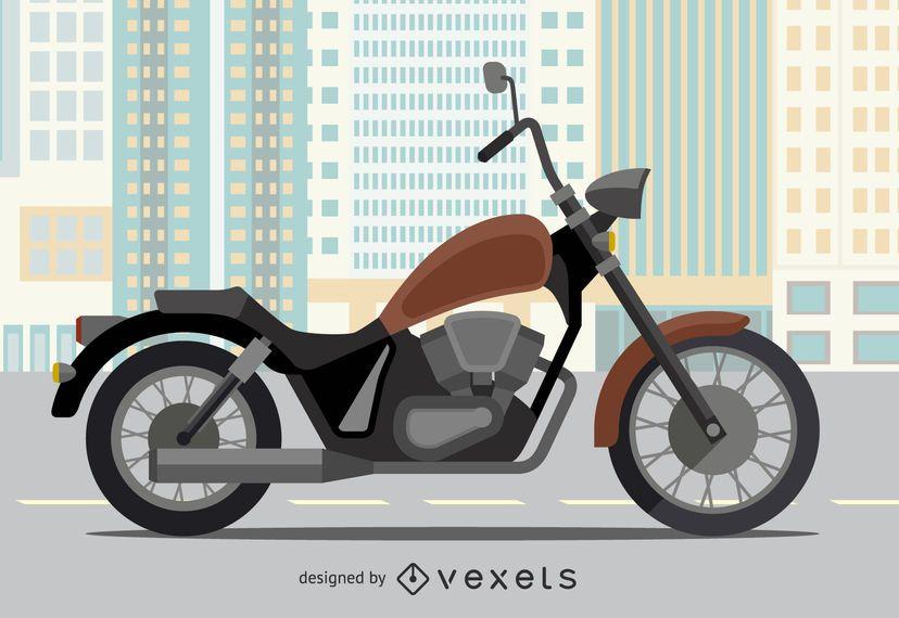 Ilustração plana da motocicleta em uma cidade