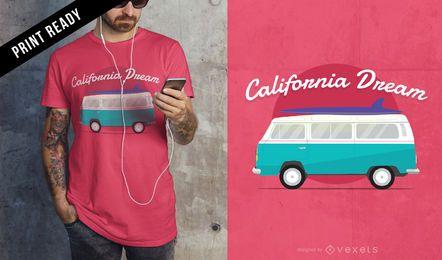 Diseño de camiseta sueño de california