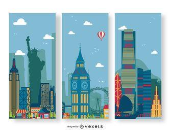 Conjunto de banners de ciudad