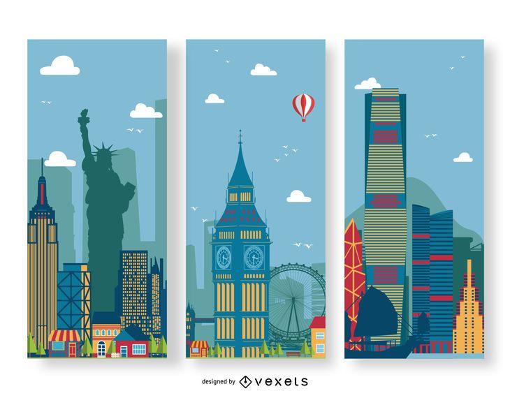 Conjunto de bandeiras da cidade