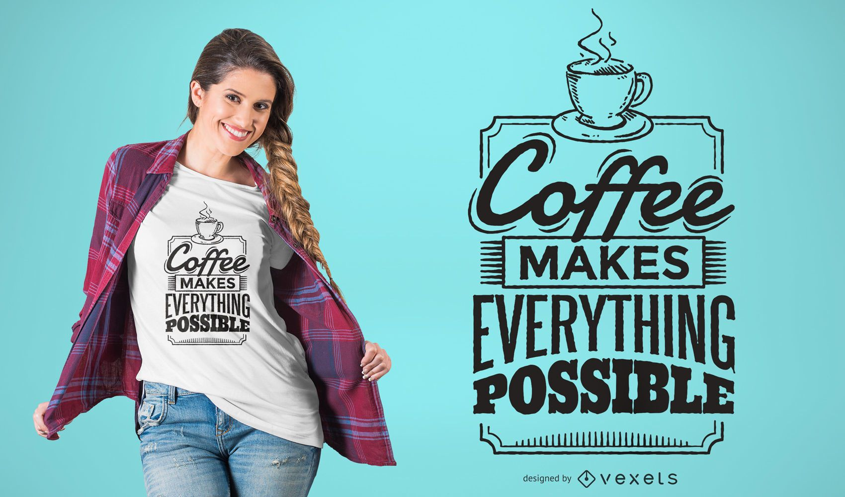 Frame Vector Png Coffee quote t-shirt d...