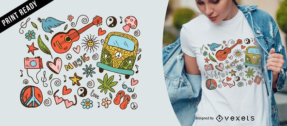 Diseño de camiseta hippie doodle