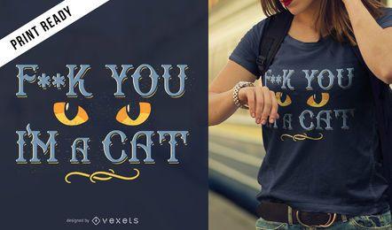 Diseño de camiseta de ojos de gato