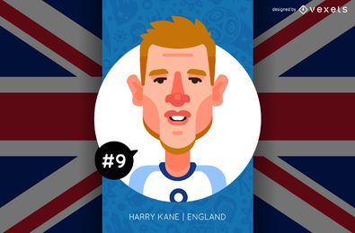 Harry Kane England Football Russia 2018 Cartoon