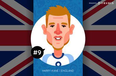 Harry Kane Inglaterra Futebol Rússia 2018 Cartoon