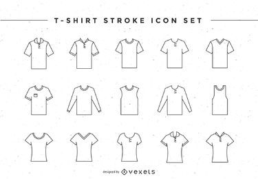 T-shirt stroke icon set