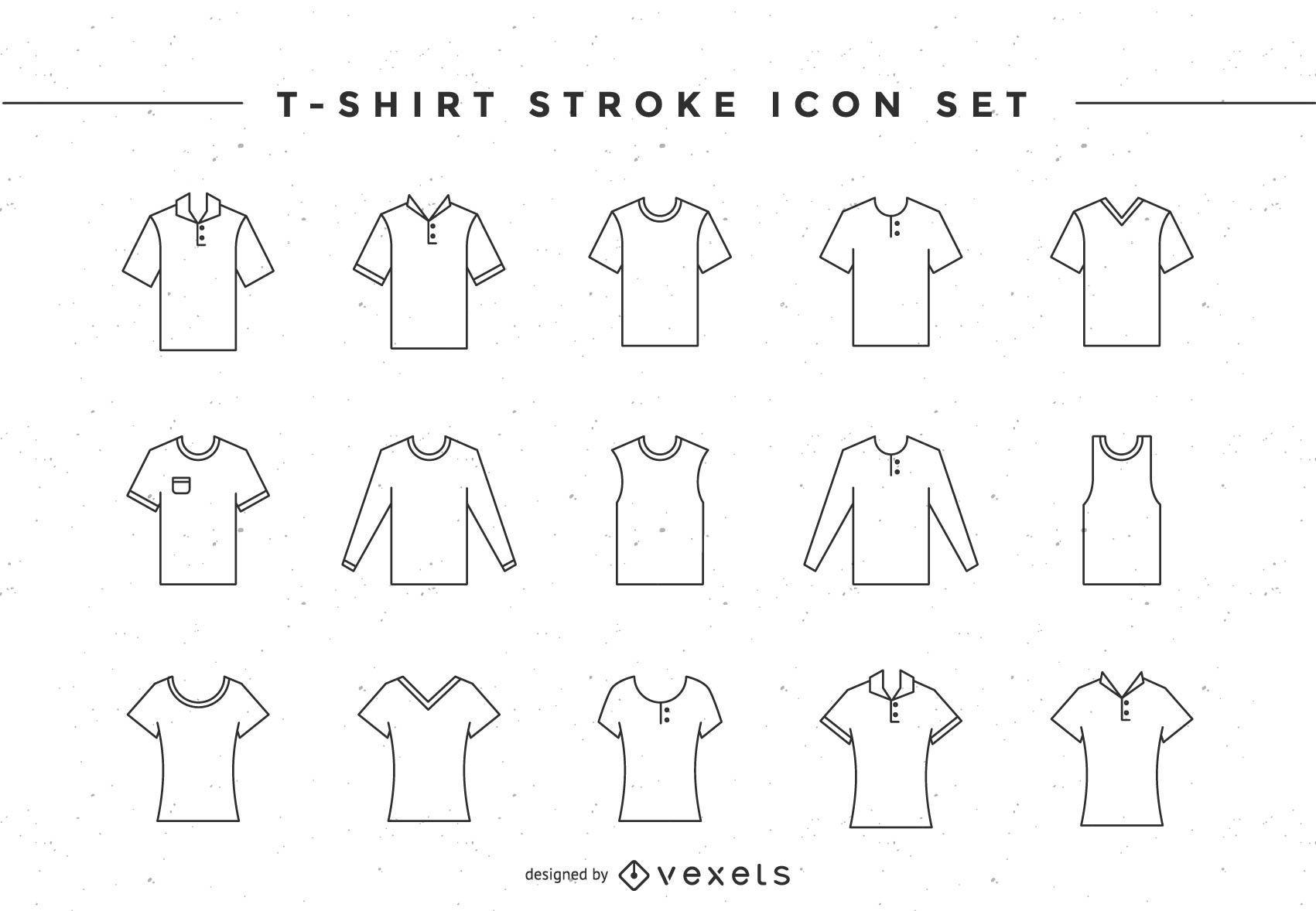 Conjunto de ícones de traço de camiseta