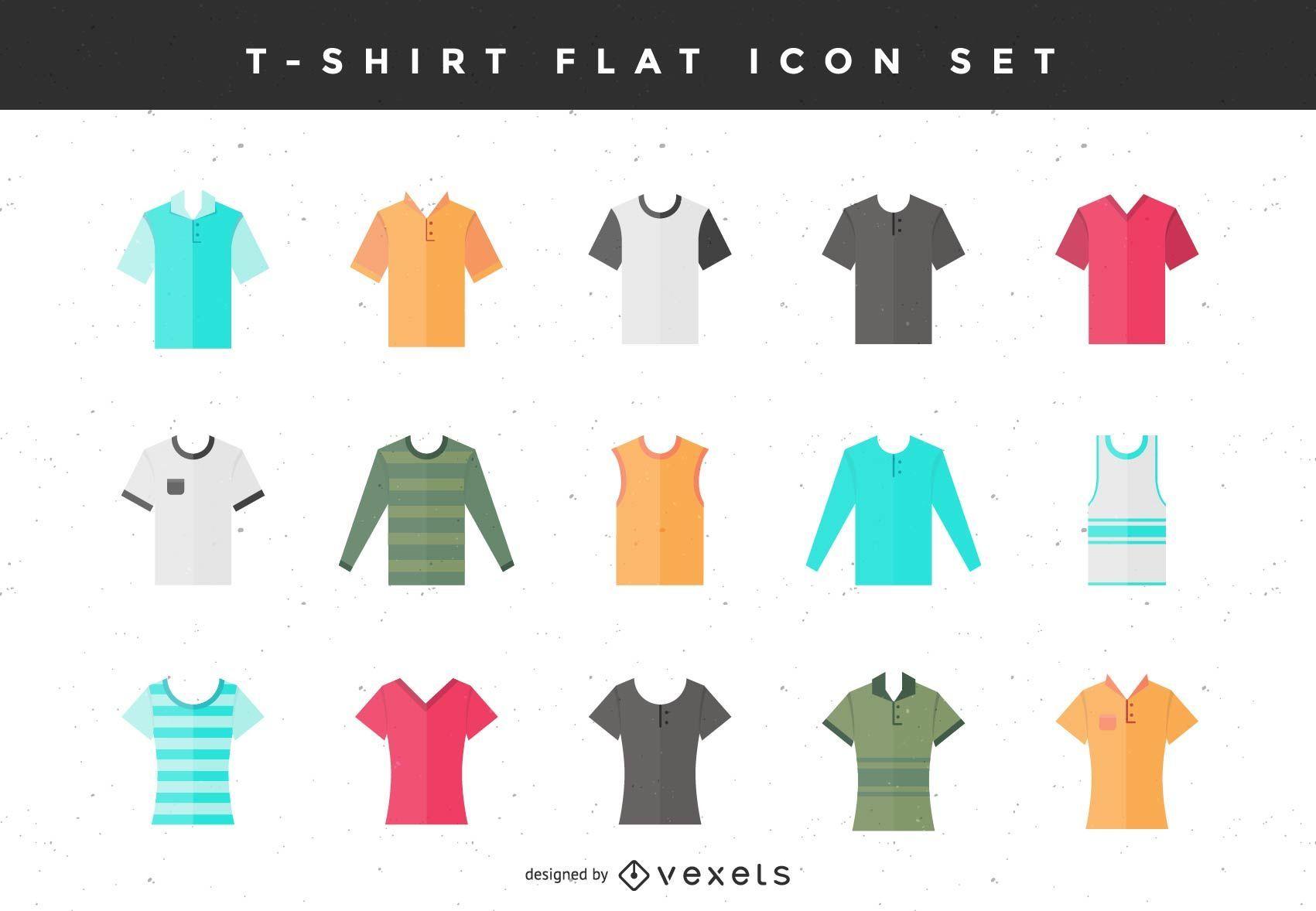 Conjunto de ícones planos de camiseta