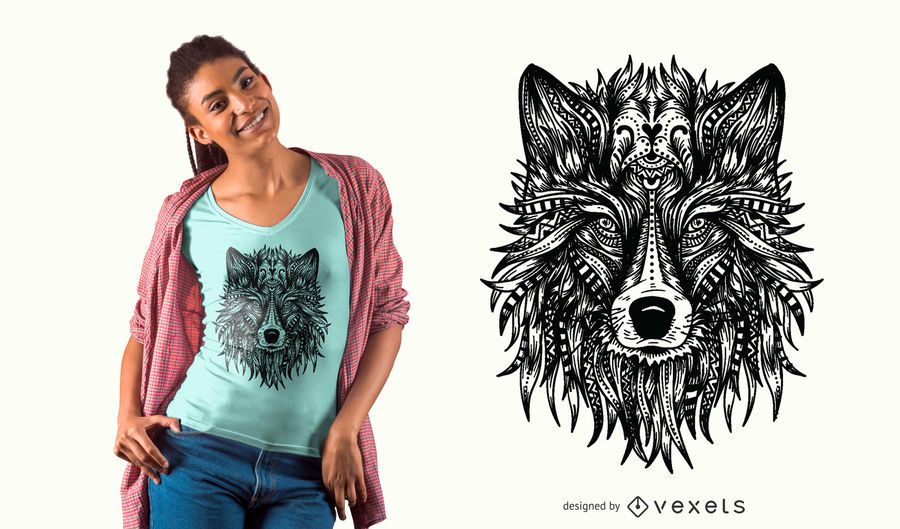 Diseño de camiseta de cabeza de lobo.