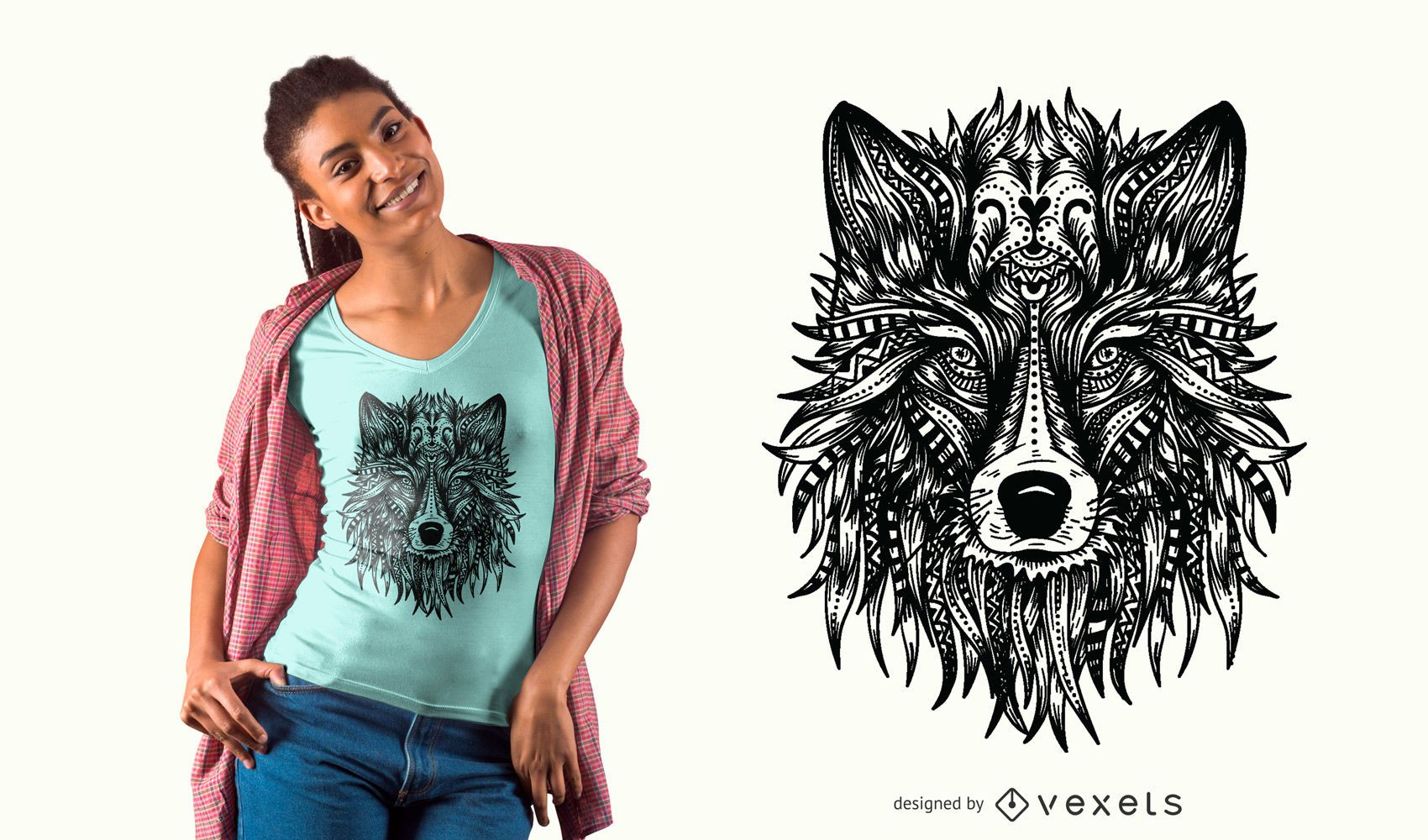 Wolf head t-shirt design - Vector download