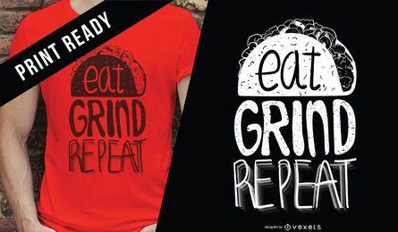 Coma o design do t-shirt da repetição da moagem