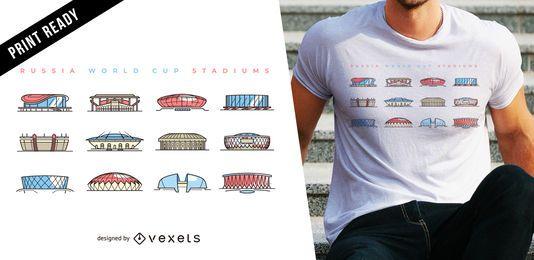 Design de t-shirt de estádios de Copa do mundo