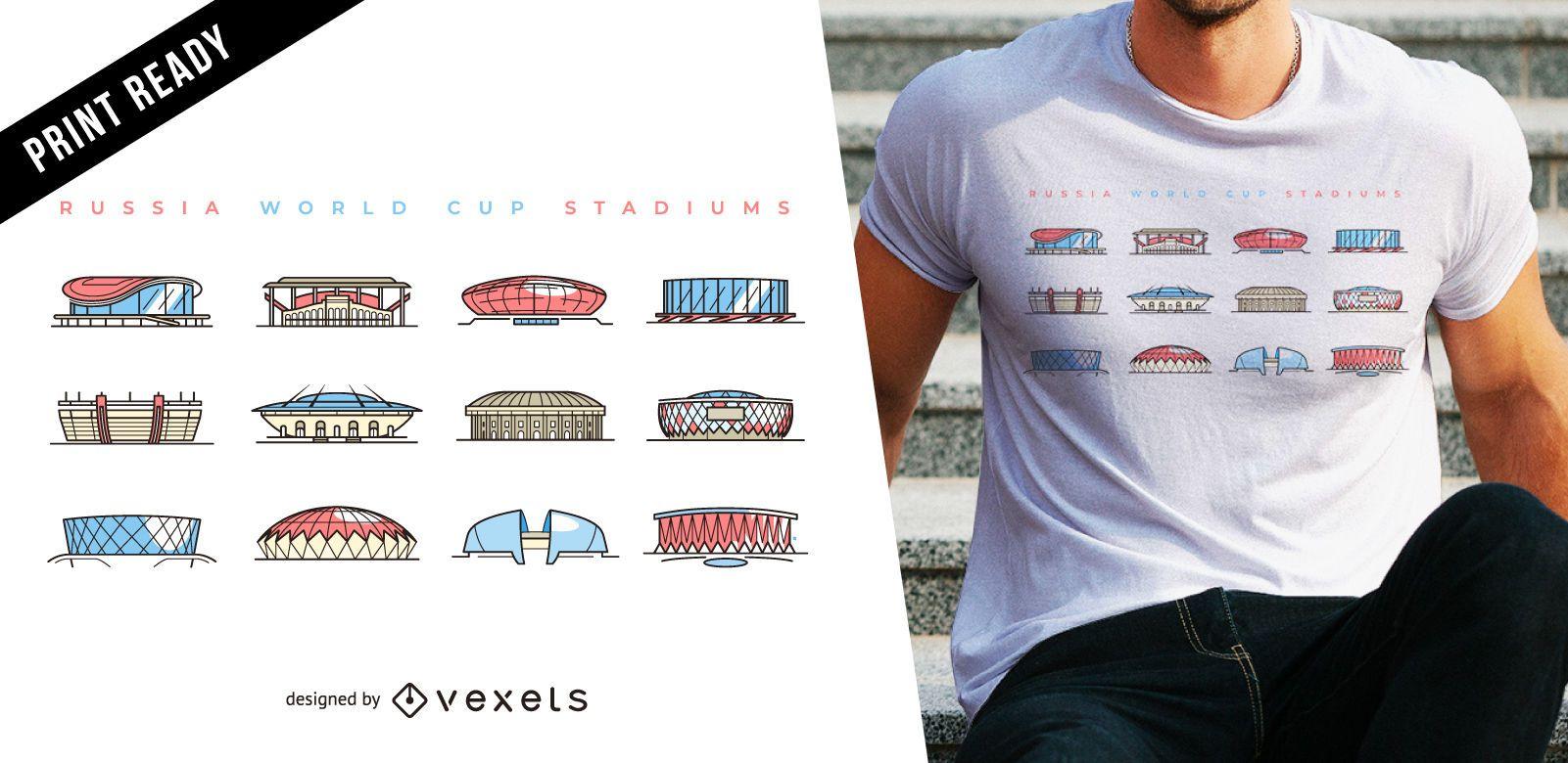 World cup stadiums t-shirt design