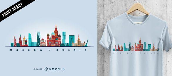 Design de camiseta com o horizonte de Moscou