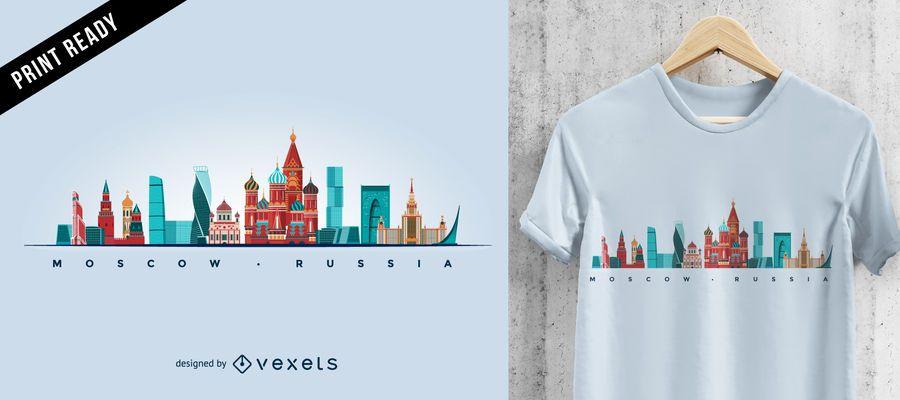 Diseño de camiseta de horizonte de Moscú
