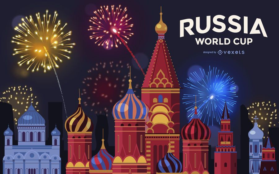 Moscow World Cup fireworks background