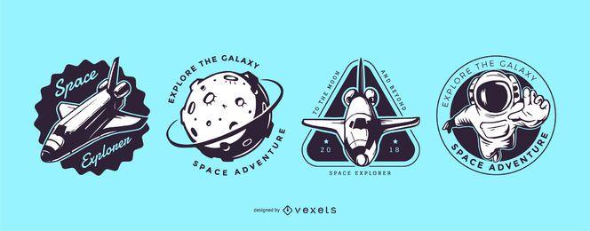 Conjunto de logotipo de exploração espacial