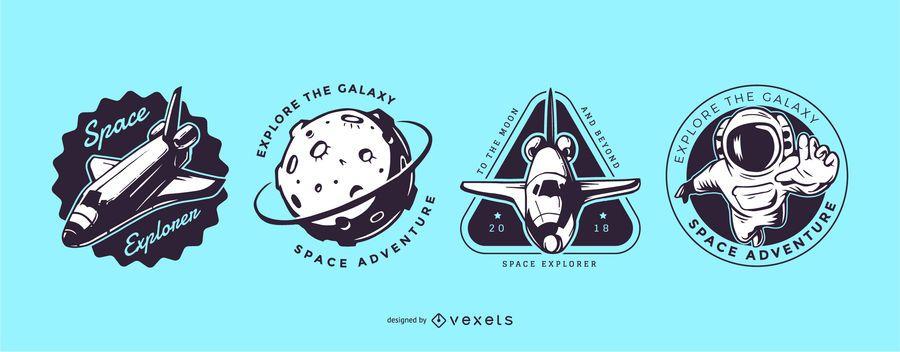 Space exploration logo set