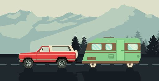 Road trip caravan illustration
