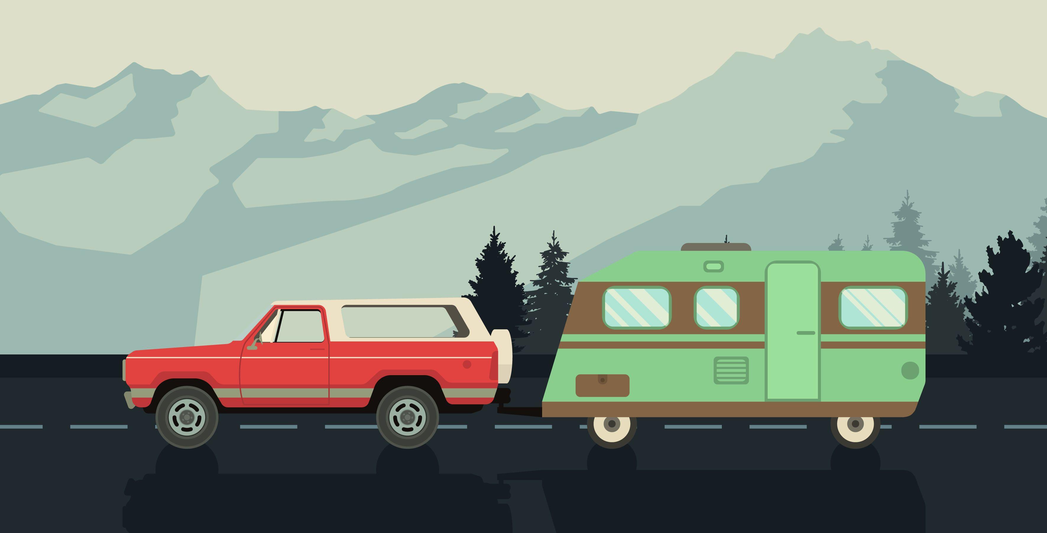 Ilustración de caravana de viaje por carretera