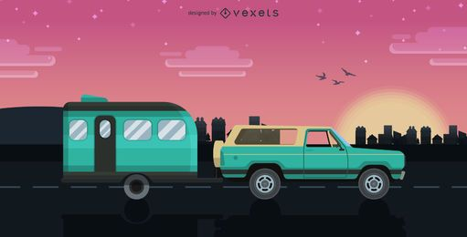 Ilustración de viaje en caravana