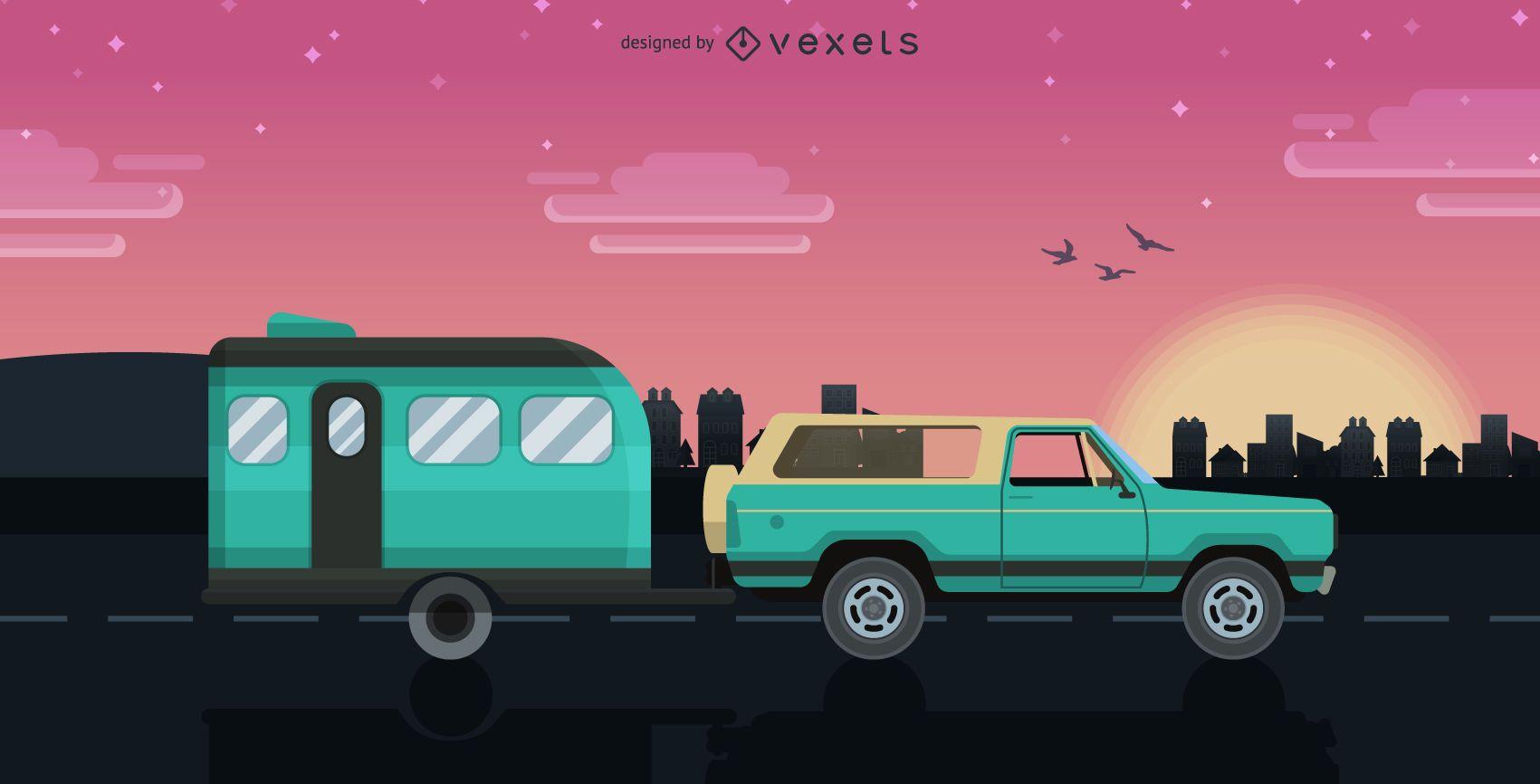 Caravan trip illustration