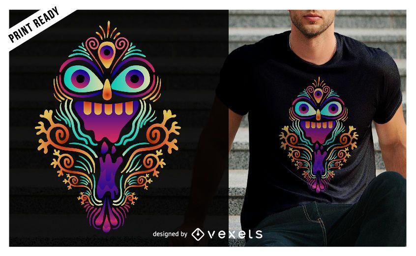 Diseño de camiseta de criatura psicodélica.